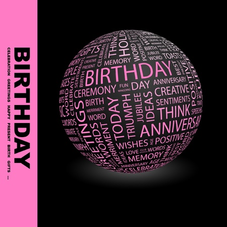 word balloon: BIRTHDAY. Globe with different association terms. Wordcloud vector illustration.   Illustration