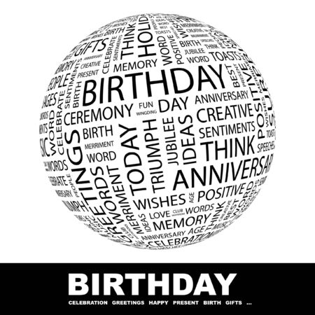 BIRTHDAY. Globe with different association terms. Wordcloud vector illustration.   Vector
