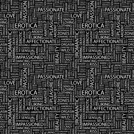 EROTICA. Seamless vector pattern with word cloud. Illustration with different association terms.