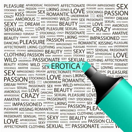 EROTICA. Highlighter over background with different association terms. Vector illustration. Illustration