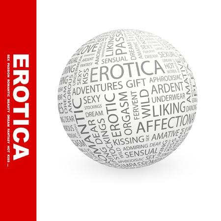 EROTICA. Globe with different association terms. Wordcloud vector illustration.