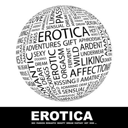 erotic fantasy: EROTICA. Globe with different association terms. Wordcloud vector illustration.