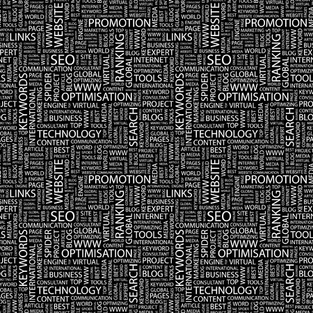 web crawler: SEO. Seamless vector pattern with word cloud. Illustration with different association terms.