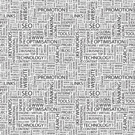 artikelen: SEO. Naadloze vector patroon met word cloud. Illustratie met verschillende vereniging voorwaarden.