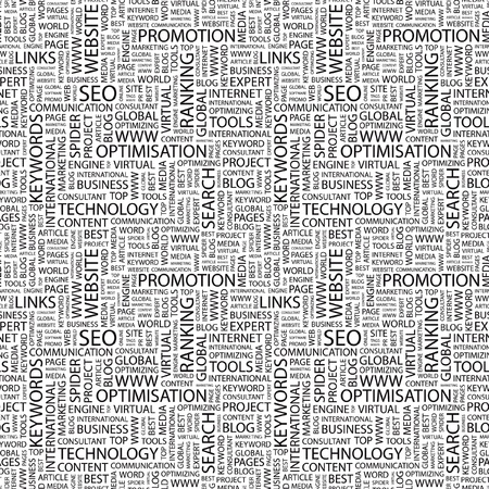 keywords link: SEO. Seamless vector pattern with word cloud. Illustration with different association terms.