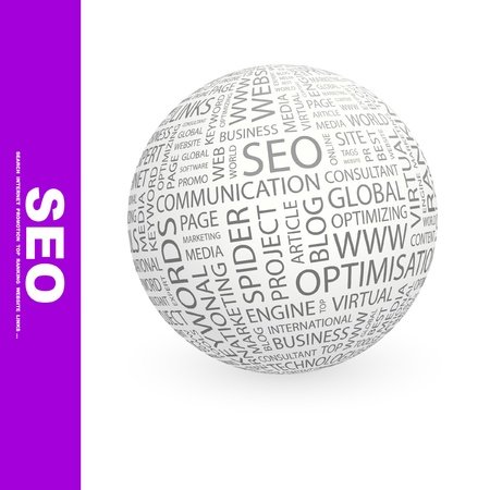 marketing mix: SEO. Globe with different association terms. Wordcloud vector illustration.
