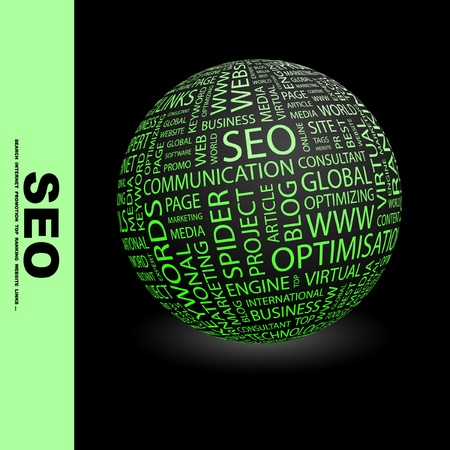 content page: SEO. Globe with different association terms. Wordcloud vector illustration.