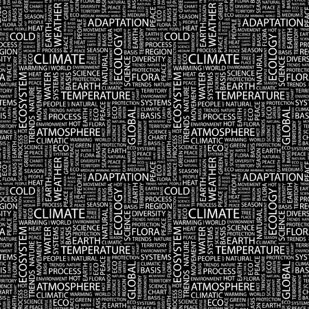 CLIMATE. Seamless vector pattern with word cloud. Illustration with different association terms.   Vector