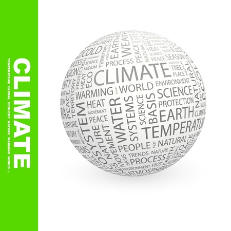 CLIMATE. Globe with different association terms. Wordcloud vector illustration.   Stock Vector - 9130745