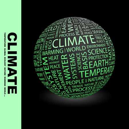 environmental issues: CLIMATE. Globe with different association terms. Wordcloud vector illustration.