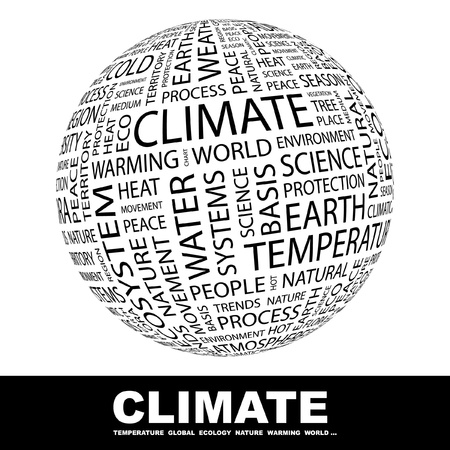 CLIMATE. Globe with different association terms. Wordcloud vector illustration.   Vector