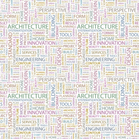 ARCHITECTURE. Seamless vector pattern with word cloud. Illustration with different association terms.   Vector
