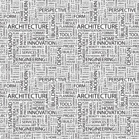 architectural elements: ARCHITECTURE. Seamless vector pattern with word cloud. Illustration with different association terms.   Illustration