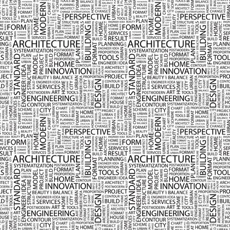 건축가: ARCHITECTURE. Seamless vector pattern with word cloud. Illustration with different association terms.   일러스트