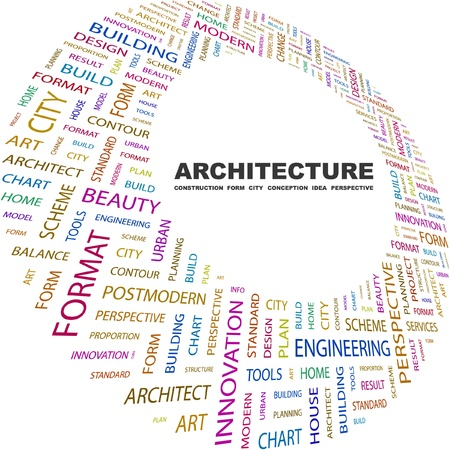 manage clutter: ARCHITECTURE. Word collage on white background. Vector illustration. Illustration with different association terms.