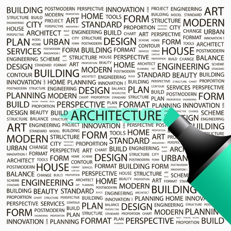 arquitecto: ARQUITECTURA. Marcador de resaltado sobre fondo con términos de asociación diferente. Ilustración vectorial. Vectores