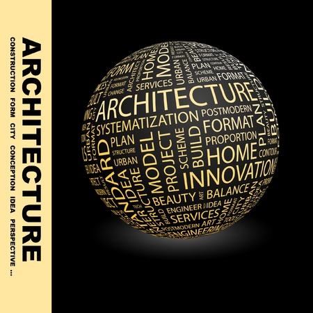 manage clutter: ARCHITECTURE. Globe with different association terms. Wordcloud vector illustration.