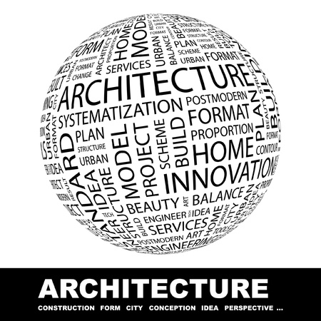 urbanized: ARCHITECTURE. Globe with different association terms. Wordcloud vector illustration.