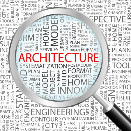 urban planning: ARCHITECTURE. Magnifying glass over background with different association terms. Vector illustration.