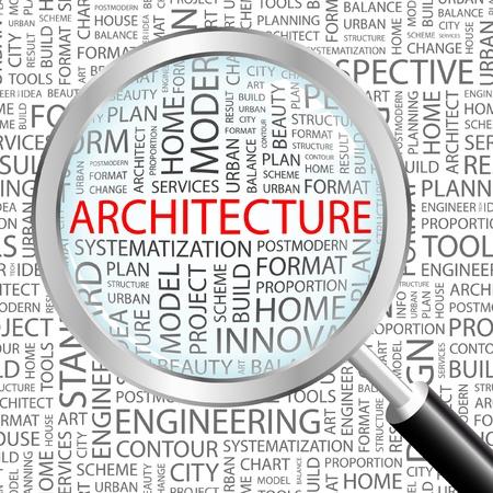 housing search: ARCHITETTURA. Lente di ingrandimento su sfondo con termini differenti associazione. Illustrazione vettoriale.