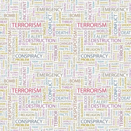 TERRORISM. Seamless pattern with word cloud. Illustration with different association terms.   Vector