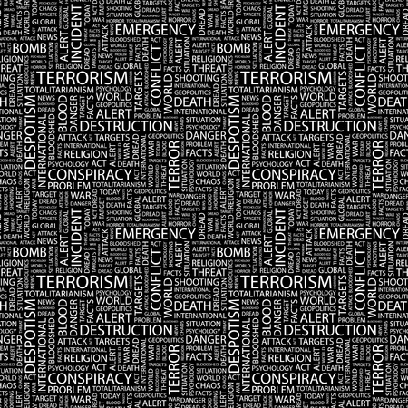 TERRORISM. Seamless vector background. Wordcloud illustration. Illustration with different association terms.   Vector