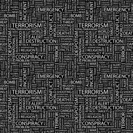 bloodshed: TERRORISMO. Fondo transparente de vector. Ilustraci�n Wordcloud. Ilustraci�n con t�rminos de asociaci�n diferente.