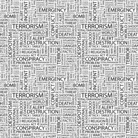 bloodshed: TERRORISM. Seamless vector pattern with word cloud. Illustration with different association terms.