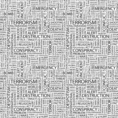 bloodshed: TERRORISMO. Patr�n de vector transparente con nubes de palabra. Ilustraci�n con t�rminos de asociaci�n diferente.