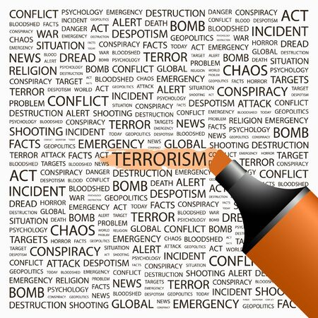 patriot act: TERRORISM. Highlighter over background with different association terms. Vector illustration.