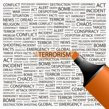 bloodshed: TERRORISMO. Marcador de resaltado sobre fondo con t�rminos de asociaci�n diferente. Ilustraci�n vectorial. Vectores