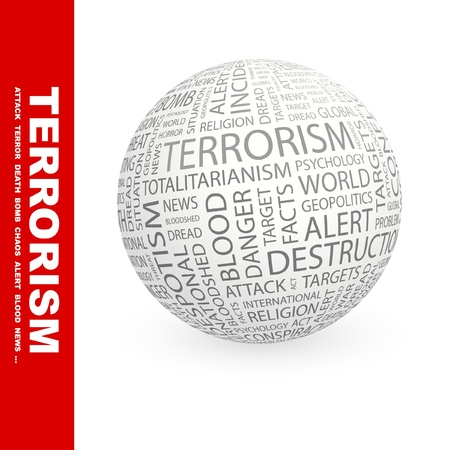TERRORISM. Globe with different association terms. Wordcloud vector illustration.