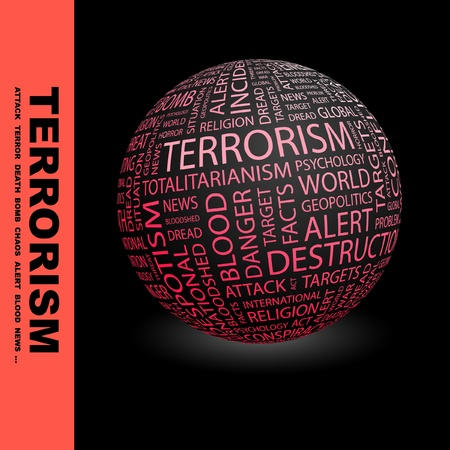war on terror: TERRORISM. Globe with different association terms. Wordcloud vector illustration.