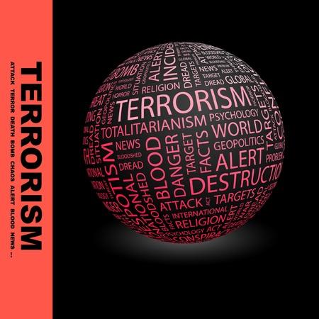 TERRORISME. Globe avec termes différents association. Wordcloud, illustration vectorielle.
