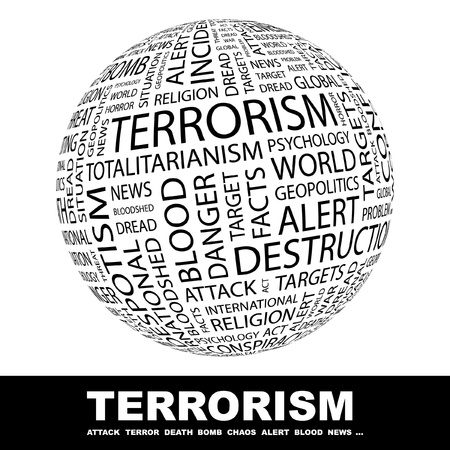 domination: TERRORISM. Globe with different association terms. Wordcloud vector illustration.
