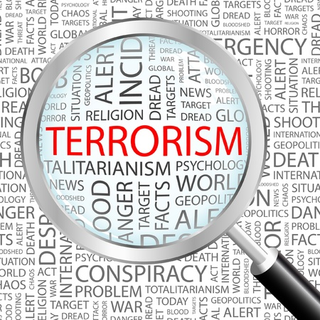 patriot act: TERRORISM. Magnifying glass over background with different association terms. Vector illustration.   Illustration