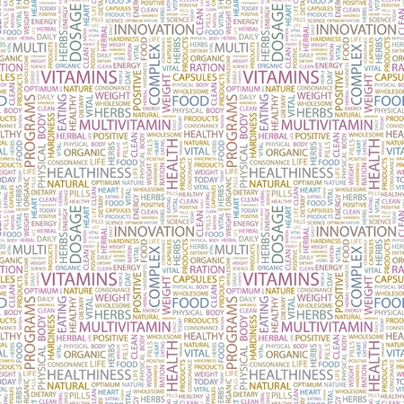VITAMINS. Seamless vector pattern with word cloud.  Illustration with different association terms.   Stock Vector - 9026256