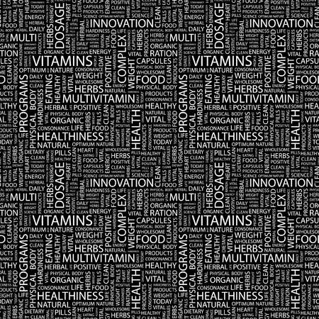 VITAMINS. Seamless vector pattern with word cloud.  Illustration with different association terms. Stock Vector - 9194705