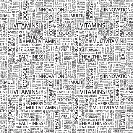 multivitamins: VITAMINS. Seamless vector background. Wordcloud illustration. Illustration with different association terms.