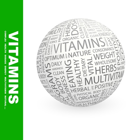 VITAMINS. Globe with different association terms. Wordcloud vector illustration.   Stock Vector - 9131116