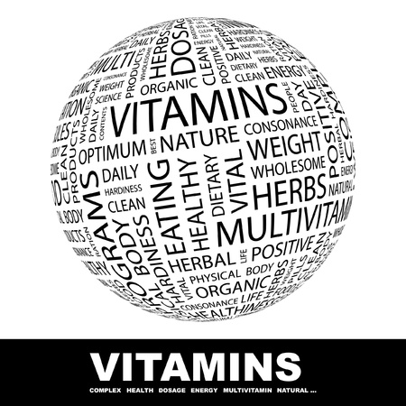 hardiness: VITAMINS. Globe with different association terms. Wordcloud vector illustration.   Illustration