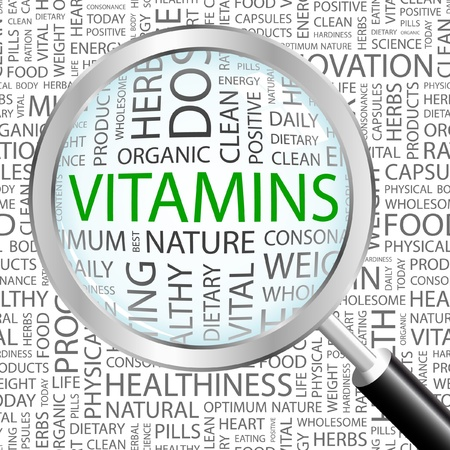 multivitamin: VITAMINS. Magnifying glass over background with different association terms. Vector illustration.
