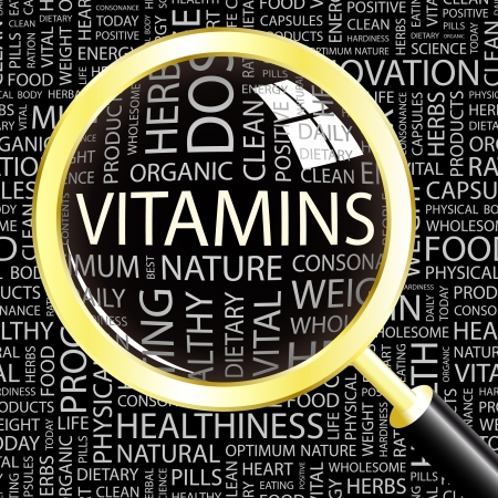 multivitamins: VITAMINS. Magnifying glass over background with different association terms. Vector illustration.