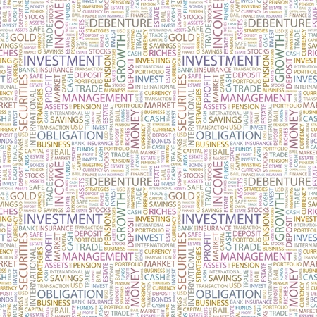 INVESTMENT. Seamless vector background. Wordcloud illustration. Illustration with different association terms.   Vector