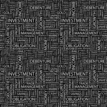 財源: 投資。単語の雲とのシームレスなベクター パターン。異なる協会規約のイラスト。