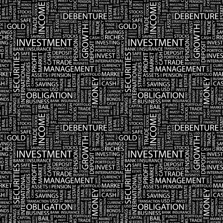 installment: INVESTMENT. Seamless vector pattern with word cloud. Illustration with different association terms.   Illustration