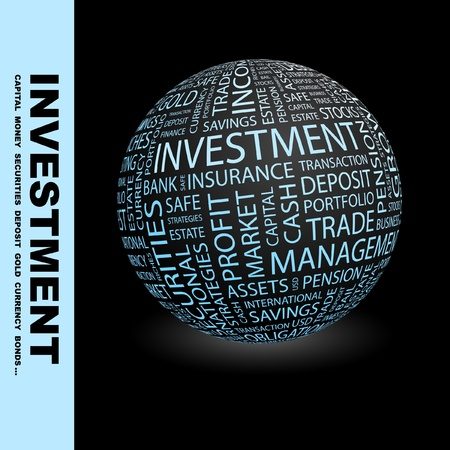 savings risk: INVESTMENT. Globe with different association terms. Wordcloud vector illustration.   Illustration