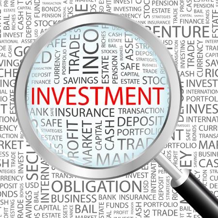 safe investments: INVESTIMENTI. Lente di ingrandimento su sfondo con termini differenti associazione. Illustrazione vettoriale.