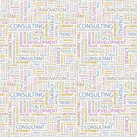 CONSULTING. Seamless vector background. Wordcloud illustration. Illustration with different association terms.   Vector