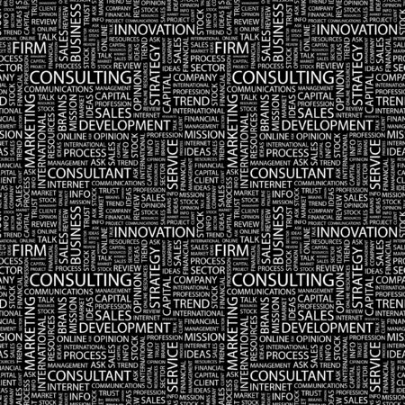CONSULTING. Seamless vector pattern with word cloud. Illustration with different association terms.   Vector